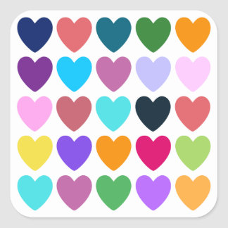Hearts of All Kinds Square Sticker
