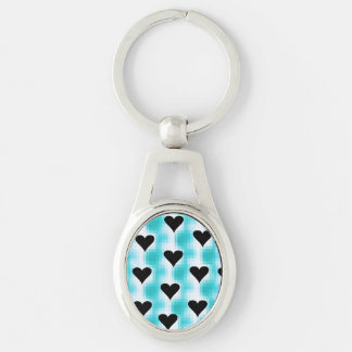 Hearts Of Black Silver-Colored Oval Metal Keychain