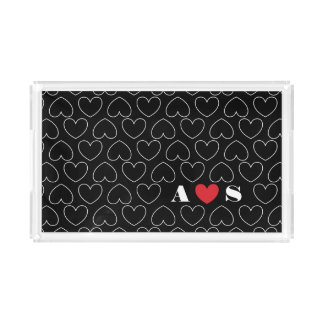 Hearts of Love Pattern with Couples Initials Acrylic Tray