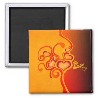 Hearts of Love Square Magnet