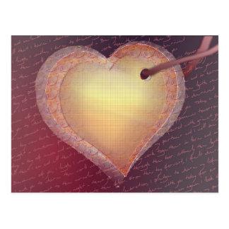 hearts on a ribbon post card