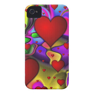 Hearts on Bright Background iPhone 4 Cover