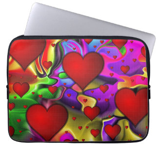 Hearts on Bright Background Laptop Sleeve
