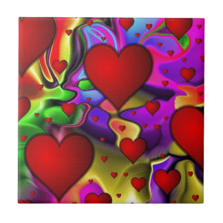 Hearts on Bright Background Small Square Tile