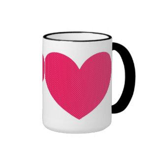 Hearts on Coffee Cups Ringer Mug