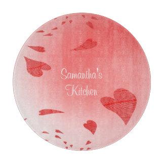 Hearts on Pink Custom Cutting Board
