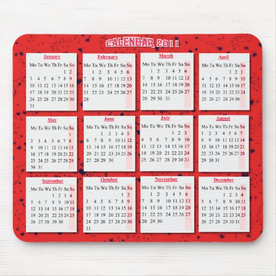 Hearts on red mousepad/ calendar mouse mat