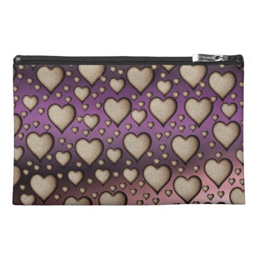 Hearts on Shiny background Travel Accessories Bag