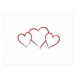 Hearts Outline Postcard