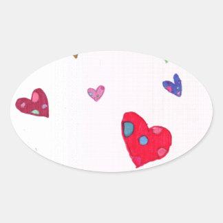 Hearts Oval Sticker
