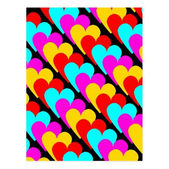 Hearts patchwork postcard