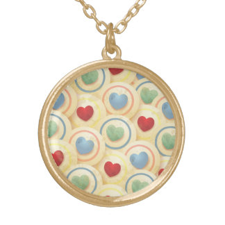 Hearts pattern in vintage style round pendant necklace