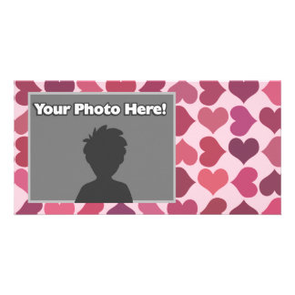 Hearts Pattern Personalised Photo Card