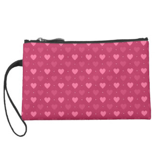 Hearts Pattern Pink & Red (Love & Valentine) Wristlet Purses