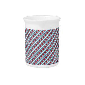 Hearts pattern stripes drink pitcher