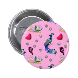 Hearts & Peacocks - Pink & Cyan Delight Buttons