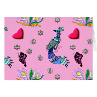 Hearts & Peacocks - Pink & Cyan Delight Greeting Card