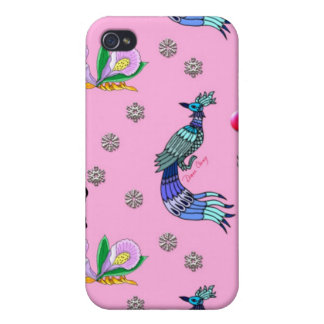 Hearts & Peacocks - Pink & Cyan Delight iPhone 4/4S Cover