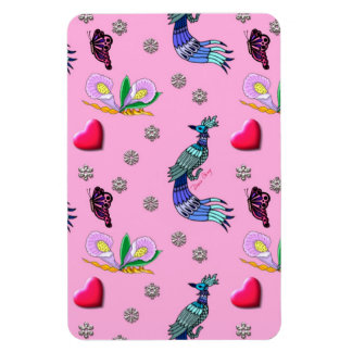 Hearts & Peacocks - Pink & Cyan Delight Flexible Magnets