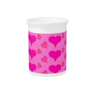 hearts pink beverage pitcher