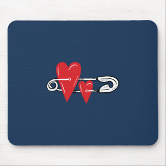 Hearts Pinned Together Mouse Pad