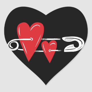 Hearts Pinned Together Heart Sticker