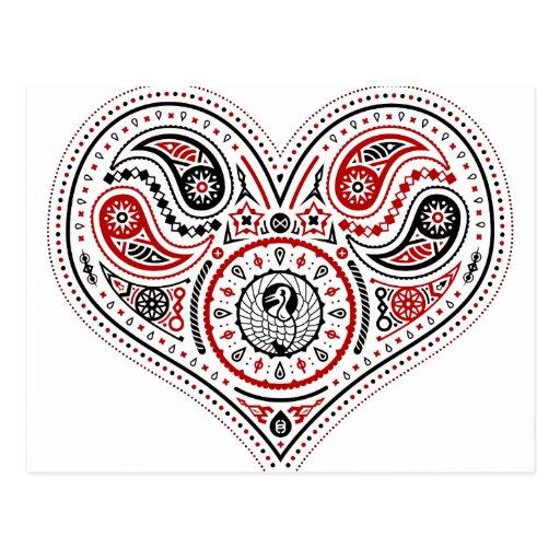 Hearts - Postcard (White/Red/Black)