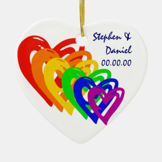 Hearts Rainbow Ceramic Heart Decoration