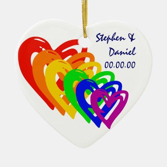 Hearts Rainbow Christmas Ornament