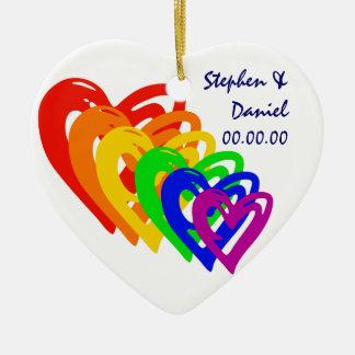 Hearts Rainbow Ceramic Heart Decoration