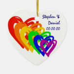 Hearts Rainbow Ornament