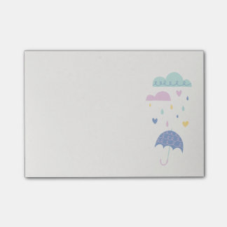 Hearts & Raindrops (Small) - Cobalt Post-it Notes