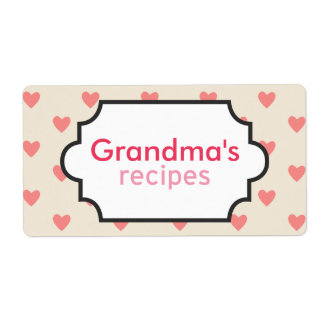 Hearts Recipe Collection Shipping Label