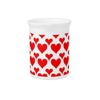 hearts red beverage pitchers