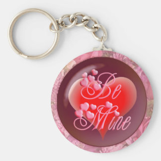HEARTS, ROSES BE MINE by SHARON SHARPE Basic Round Button Key Ring