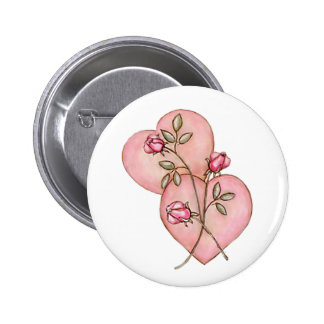 HEARTS & ROSES by SHARON SHARPE 6 Cm Round Badge