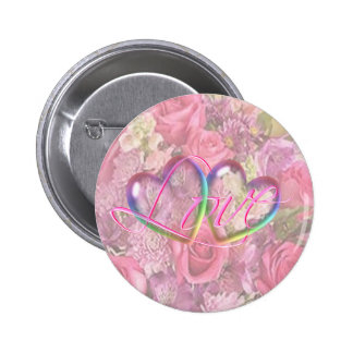 HEARTS, ROSES & LOVE by SHARON SHARPE 6 Cm Round Badge