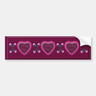Hearts & Roses X's & O's Photo Frame Bumper Sticker