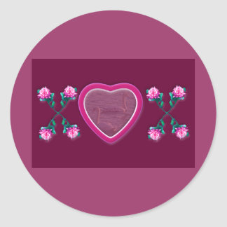 Hearts & Roses X's & O's Photo Frame Round Sticker