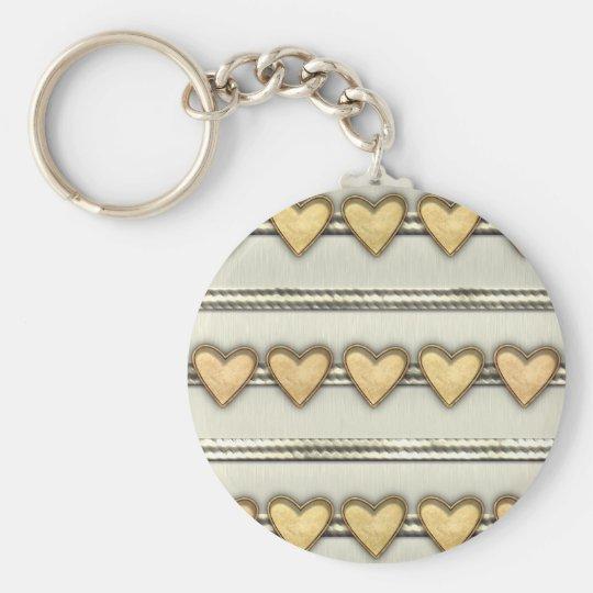 Hearts, Satin and Ribbon Basic Round Button Key Ring