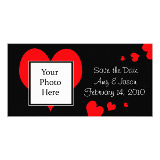 Hearts Save the Date Wedding Photo Card