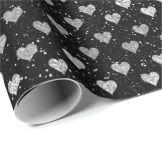 Hearts Silver Glam Black Sparkly Glitter Glam Wrapping Paper