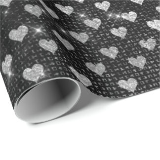 Hearts Silver Gray Metallic Sparkly Urban Wrapping Paper