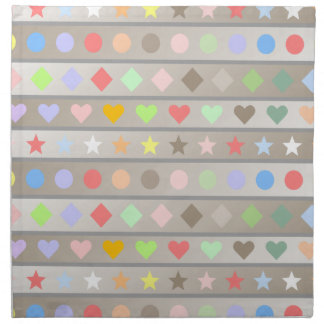 Hearts Stars Diamond & Dots Pattern Napkin