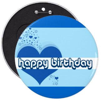 Hearts & Stars Happy Birthday 6 Cm Round Badge