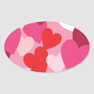 Hearts Oval Stickers