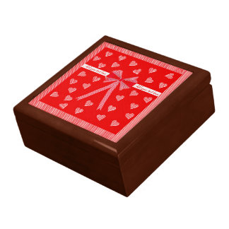 Hearts, stripes and bow large square gift box