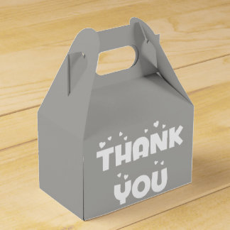 Hearts Thank You Slate Gray & White Wedding Party Favour Box