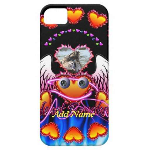 Hearts Trio in fire and angel wings Heart Breaker iPhone 5 Cases
