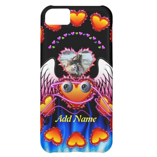 Hearts Trio with eyes in fire and angel wings iPhone 5C Cover